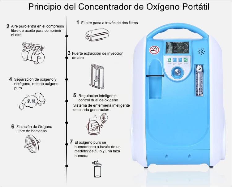 principio del concentrador de oxigeno portatil