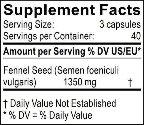 informacion nutricional semillas de hinojo