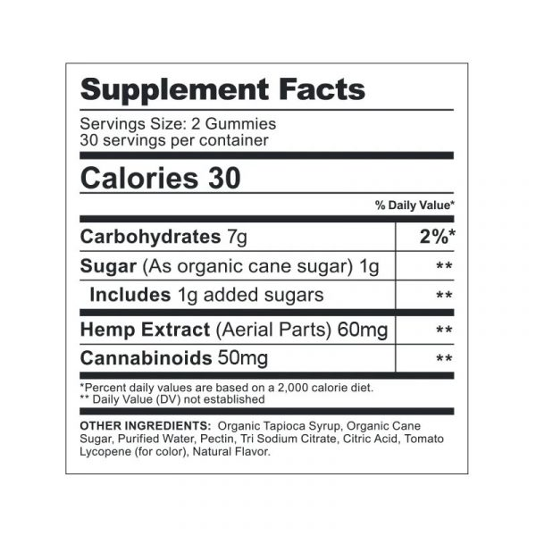 informacion nutricional de las gomitas cbdfx